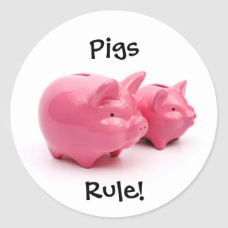 Pink Pigs Rule! Classic Round Sticker