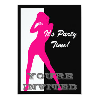 Pink pin up girl on black and white party card
