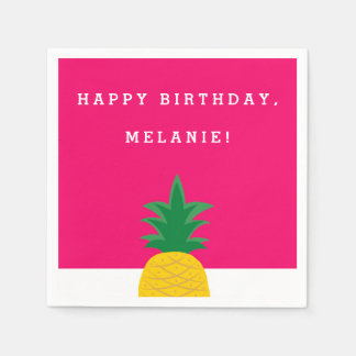 Pink Pineapple Pool Party Birthday Disposable Napkin