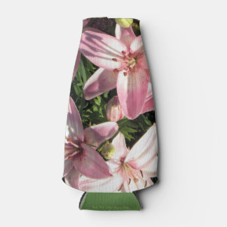 Pink, Pink White Asiatic Lilies Bottle Cooler