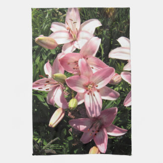 Pink, Pink White Asiatic Lilies Kitchen Towel