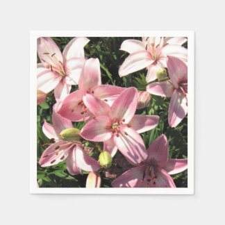 Pink, Pink White Asiatic Lilies Napkin