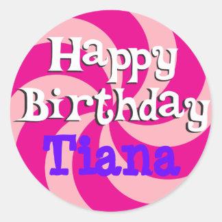 Pink Pinwheel Girly Birthday Badge Classic Round Sticker