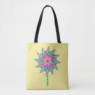 """""""Pink Pinwheel on Pale Yellow - Tote Bag"""