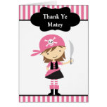 Pink Pirate Girl Thank You Note Cards