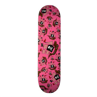 Pink pirate ship pattern custom skate board