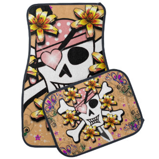 Pink Pirate Skull and Crossbones Printed Car Mat