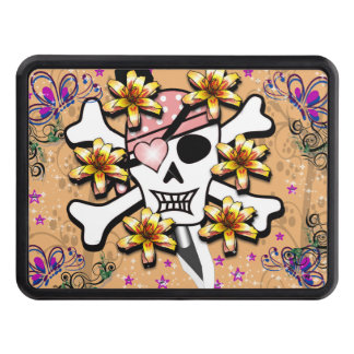 Pink Pirate Skull and Crossbones Printed Trailer Hitch Covers