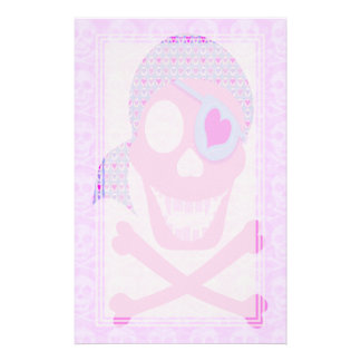 Pink Pirate Skull Blank Stationery
