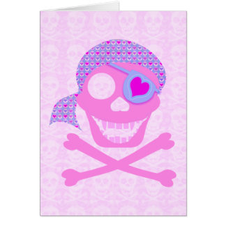 Pink Pirate Skull Cards