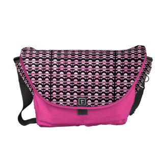 pink pirate skull pattern courier bag