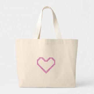 Pink Pixel Heart Jumbo Tote Bag
