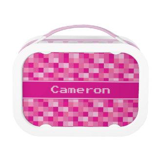 Pink Pixelated Pattern | Personalized Lunchbox