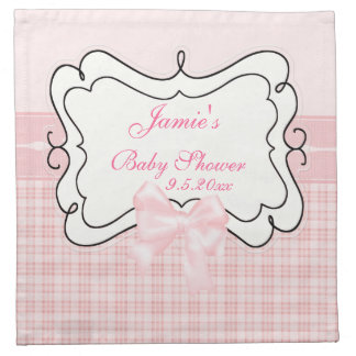 Pink Plaid and Bow Baby Shower Cloth Napkins