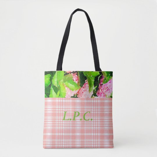 Pink Plaid and Hydrangea Tote Bag