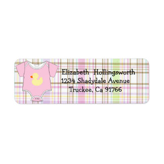 Pink Plaid-Baby Shower Return Address Label
