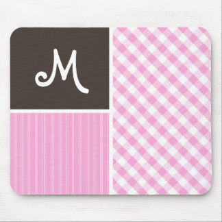 Pink Plaid; Checkered Mouse Pad