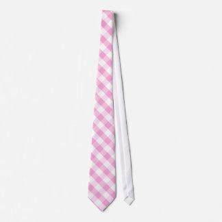 Pink Plaid; Checkered Pattern Tie
