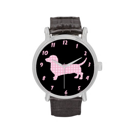 Pink Plaid Dachshund Watches