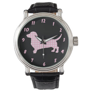 Pink Plaid Dachshund Wiener Dog Watch