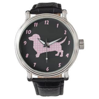 Pink Plaid Dachshund Wiener Dog Watch
