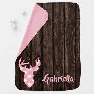Pink Plaid Deer Custom Baby Blanket