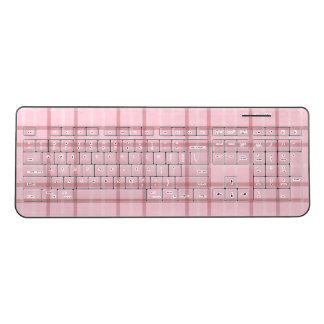 Pink Plaid Design Wireless Keyboard