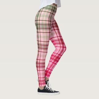 Pink Plaid Fabric Pattern Leggings