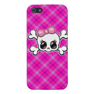 Pink Plaid Girly Skull Iphone case