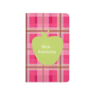 Pink Plaid Green Apple Teacher Journals