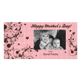 Pink Plaid Happy Mother's Day Photo Card Template