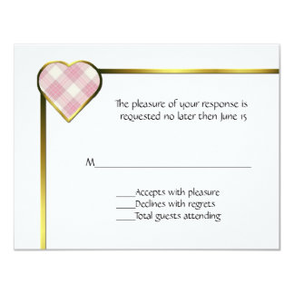 Pink Plaid Heart RSVP Card