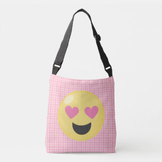 Pink Plaid Love Hearts Emoji Tote Bag