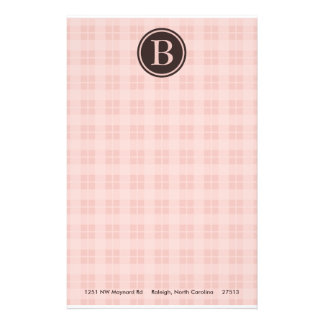 Pink Plaid Monogram Stationary Stationery Paper