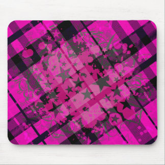Pink Plaid Paint Splatter Mouse Pad
