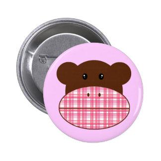 Pink Plaid Sock Monkey - button