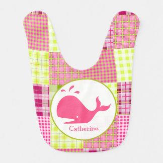 Pink Plaid + Whale Personalized Bib