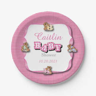 Pink Plaid with Baby Bears | Baby Girl Shower Paper Plate