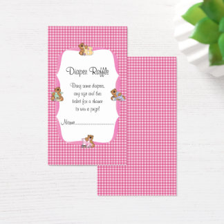 Pink Plaid with Baby Bears Theme Diaper Raffle Business Card
