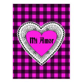 Pink Plaid with Heart Mi Amor Postcard