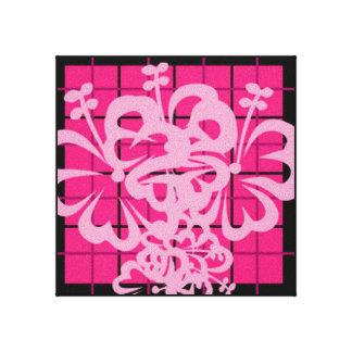 Pink Plaided Florah Design Canvas Print