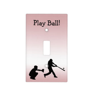 Pink Play Ball Baseball Sports Light Switch Cover