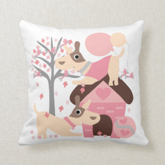 Pink Playful Puppies Pillow