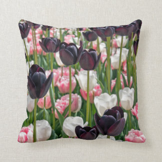 pink, plum and white tulips throw pillow