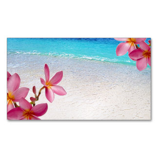 Pink Plumeria Beach House Rental Spa Boutique B&B Magnetic Business Card