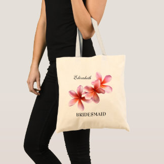 Pink Plumeria Bridesmaid Personalized Tote Bag
