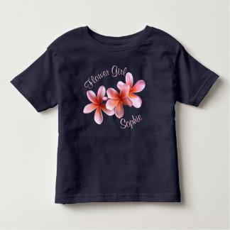 Pink Plumeria Custom Flower Girl Name T Shirts