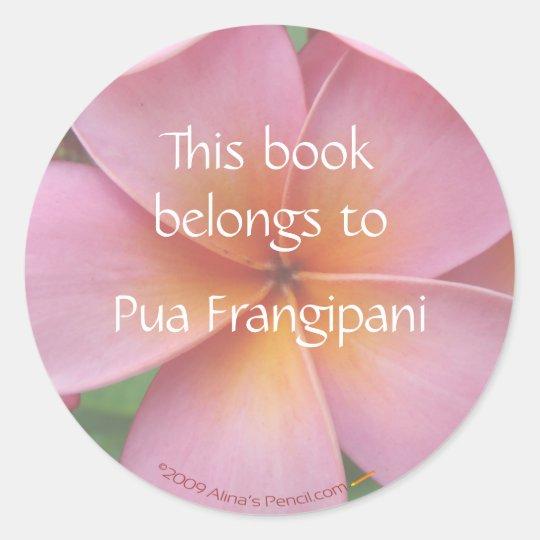 Pink Plumeria Flower Bookplate Stickers Template