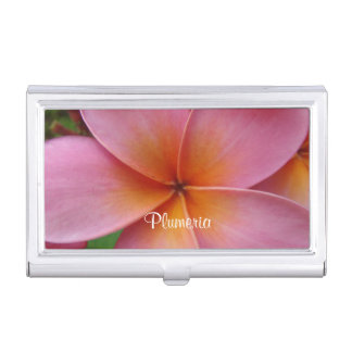 Pink Plumeria Frangipani Flower Business Card Hold Business Card Holder