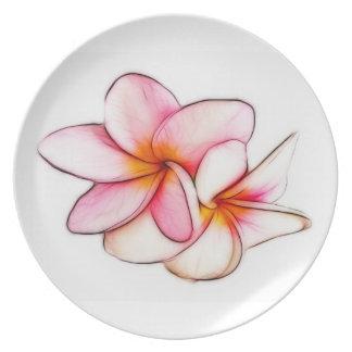 Pink Plumeria Plate